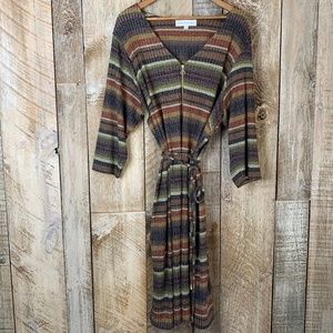 Striped Sweater O Ring Zip Front Dress Cinched